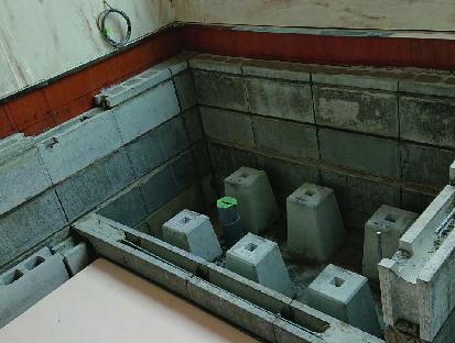 浴室造作工事中